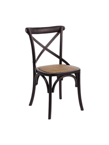Stoel Cross, Frame: gelakt olmenhout, Zitvlak: rotan, Frame: zwart. Zitvlak: rotan, B 42 x D 46 cm