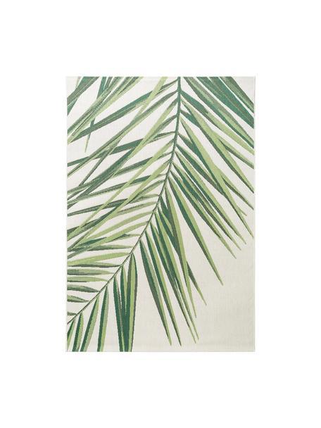 Tappeto da interno-esterno con motivo tropicale Capri Palm, 100% polipropilene, Verde, beige, Larg. 120 x Lung. 170 cm (taglia S)
