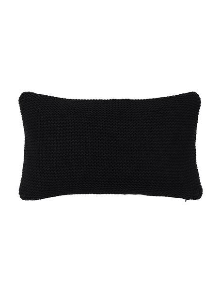 Dzianinowa poszewka na poduszkę z bawełny organicznej  Adalyn, 100% bawełna organiczna, certyfikat GOTS, Czarny, S 30 x D 50 cm