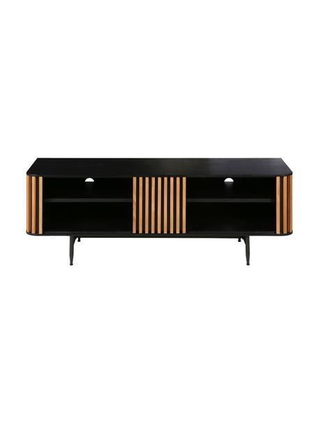 Tv-meubel Linea, Frame: MDF met gelakt eikenfinee, Poten: gelakt metaal, Zwart, eikenhoutkleurig, 130 x 43 cm