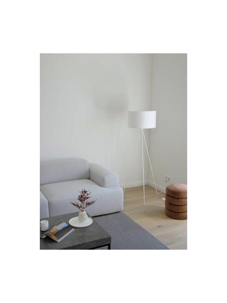 Lampa podłogowa z kloszem z tkaniny Cella, Biały, Ø 48 x W 158 cm