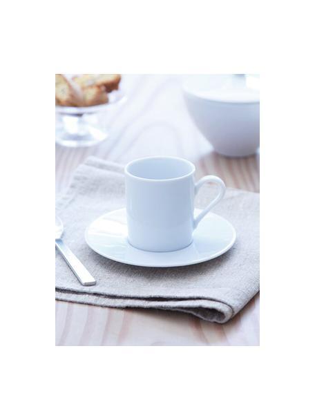 Filiżanka do espresso ze spodkiem Bianco, 4 szt., Porcelana, Biały, Ø 12 x W 7 cm