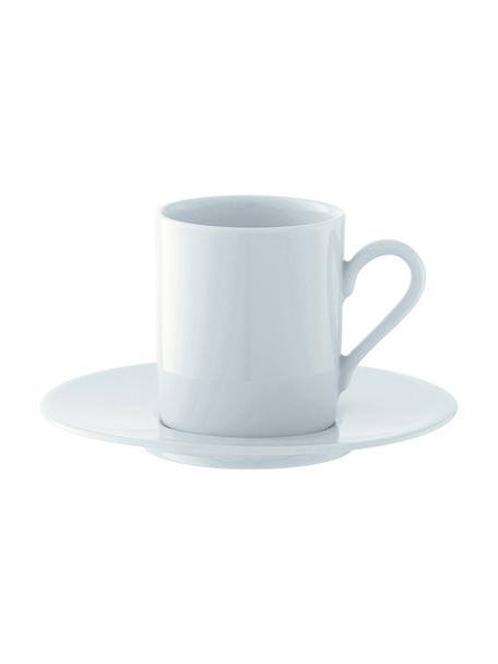 Tazas originales con platitos Bianco, 4uds., Porcelana, Blanco, Ø 12 x Al 7 cm