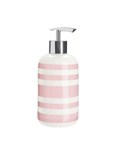 Dispenser sapone in ceramica Lina, Testa della pompa: metallo, Rosa, Ø 8 x Alt. 18 cm