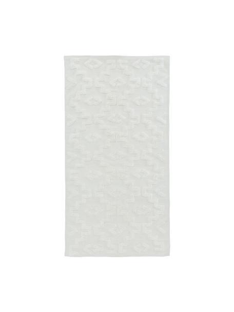 Handgeweven katoenen vloerkleed Chio met verhoogde hoog-laag structuur, 100% katoen, Crèmekleurig, B 80 x L 150 cm (maat XS)