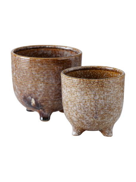 Handgefertigtes Übertopf-Set Miswa aus Porzellan, 2-tlg., Porzellan, Braun, Set mit verschiedenen Grössen