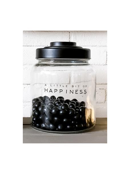 Opbergpot Happiness, Deksel: gelakt porselein, Transparant, Ø 16 x H 21 cm