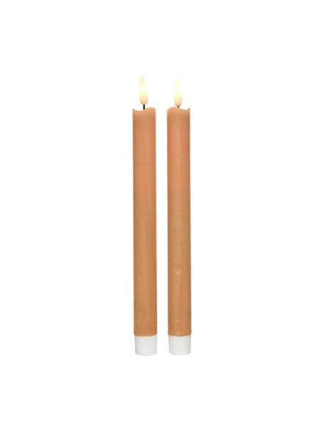 LED steekkaarsen Bonna, 2 stuks, Was, Oranje, Ø 2 x H 24 cm