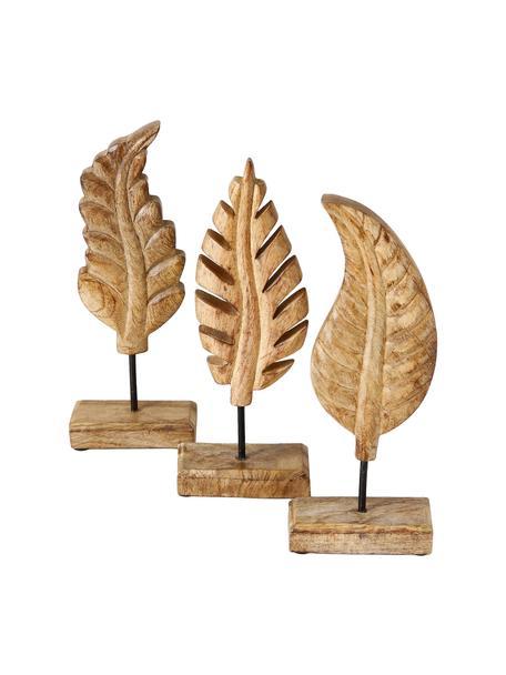Set de piezas decorativas Leaf, 3pzas., Madera, Marrón, An 12 x Al 30 cm