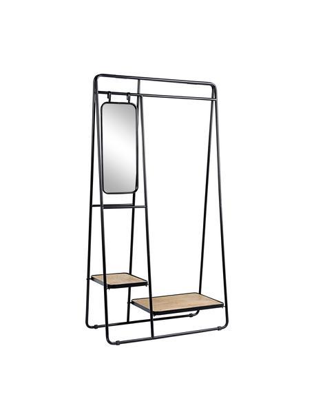 Kledingrek Jerrod met spiegel, Frame: metaal, epoxy en gepoeder, Zwart, bruin, 93 x 178 cm