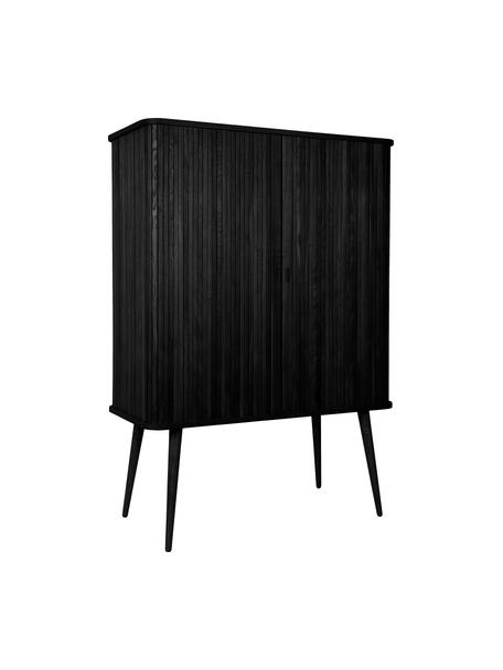 Highboard Barbier im Retro Design mit Schiebetüren, Korpus: Mitteldichte Holzfaserpla, Einlegeböden: Hartglas, Schwarz, 100 x 140 cm