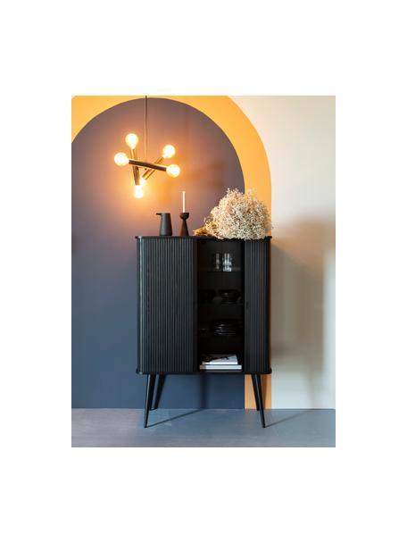 Credenza alta con anta scorrevole e fronte scanalato Barbier, Ripiani: vetro temperato, Nero, Larg. 100 x Alt. 140 cm