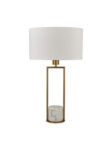 Tafellamp Quebec met marmeren voet, Lampenkap: textiel, Lampvoet: marmer, Frame: gegalvaniseerd metaal, Goudkleurig, wit, Ø 35 x H 62 cm