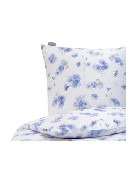Baumwoll-Bettwäsche Hydrangea mit Blümchenmotiven, 100% Baumwolle  Fadendichte 144 TC, Standard Qualität  Bettwäsche aus Baumwolle fühlt sich auf der Haut angenehm weich an, nimmt Feuchtigkeit gut auf und eignet sich für Allergiker, Weiß, Blautöne, 135 x 200 cm + 1 Kissen 80 x 80 cm