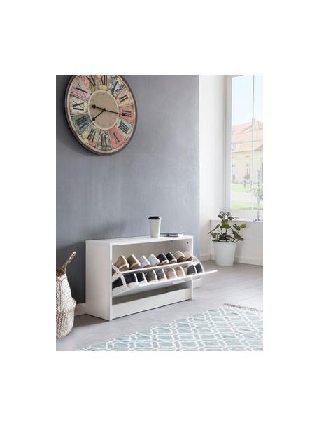 Schuhregal Zoey mit Klappfach, Spanplatte, melaminbeschichtet, Weiß, 80 x 47 cm