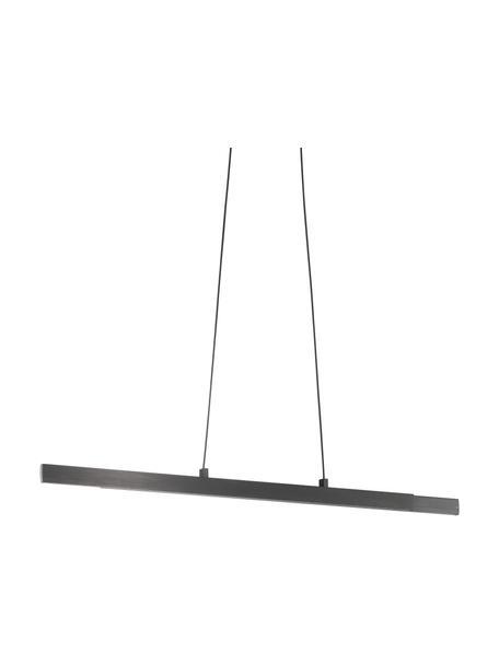 Grote dimbare uittrekbare LED hanglamp Stripe, Lampenkap: geanodiseerd aluminium, Baldakijn: geanodiseerd aluminium, Zwart, 140 x 6 cm