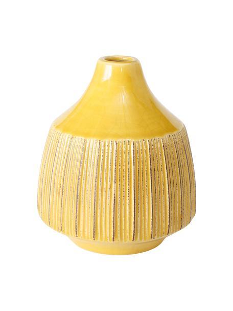 Jarrón pequeño de gres Menos, Gres, Amarillo, Ø 12 x Al 14 cm