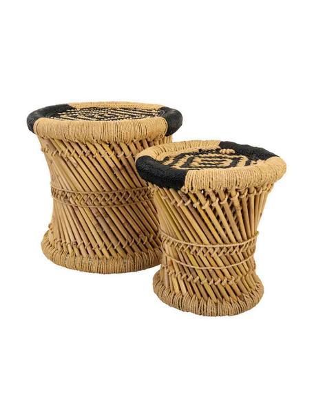 Komplet zewnętrznych stolików pomocniczych z drewna bambusowego Ariadna, 2 elem., Drewno bambusowe, lina, Brązowy, czarny, Komplet z różnymi rozmiarami