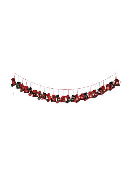 Calendario dell'avvento Merry X-Mas, lung. 270 cm, Poliestere, cotone, Verde, rosso, nero, Lung. 270 cm