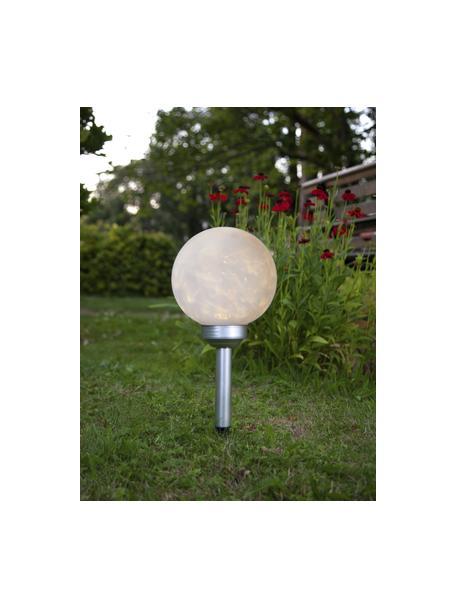 Solar Bodenleuchte Luna, Lampenschirm: Kunststoff, Opalweiss, Silberfarben, Ø 20 x H 37 cm