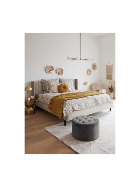 Fluwelen poef Retina met opbergruimte in grijs, Bekleding: polyester fluweel 25.000 , Frame: MDF, Donkergrijs, Ø 60 x H 35 cm