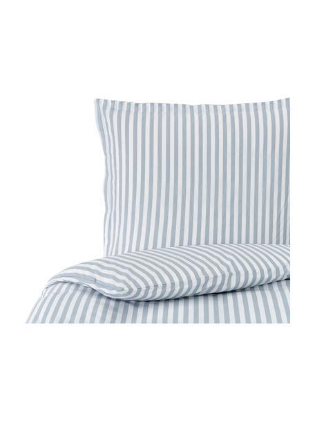 Gestreifte Baumwollperkal-Bettwäsche Yuliya Hellblau/Weiß, Webart: Perkal Fadendichte 180 TC, Blau, Weiß, 135 x 200 cm + 1 Kissen 80 x 80 cm