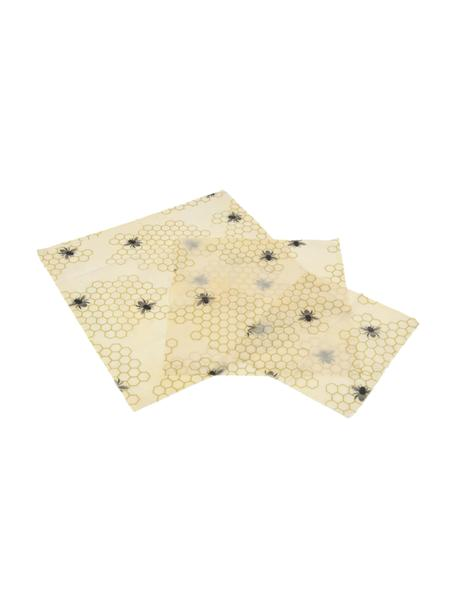 Set 3 panni in cera d'api Bee, Cotone, cera, Giallo, nero, Set in varie misure