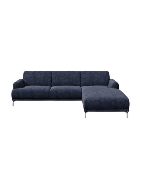 Sofa narożna z Zero Spot System Puzo, Tapicerka: 100% poliester z Zero Spo, Nogi: metal lakierowany, Niebieski, S 240 x G 165 cm