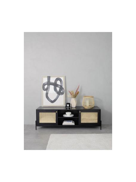 Mueble de TV con tejido vienés Vienna, Estructura: madera de mango maciza, p, Patas: metal con pintura en polv, Negro, beige, An 160 x Al 50 cm