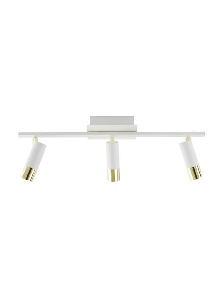 LED-Deckenstrahler Bobby in Weiß-Gold, Baldachin: Metall, pulverbeschichtet, Weiß, 66 x 13 cm