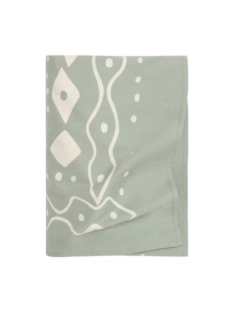 Colcha Boa, estilo boho, 100%algodón, Verde menta, blanco, An 225 x L 260 cm (para camas de 160 x 200)