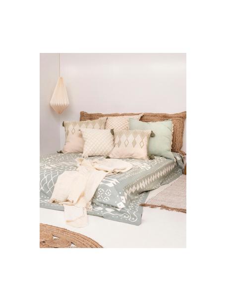 Narzuta Boa, 100% bawełna, Miętowy zielony, biały, S 225 x W 260 cm (dla łóżek od 160 x 200)