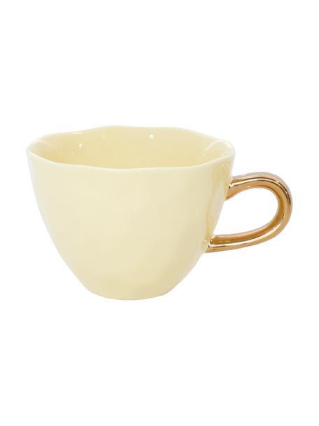 Good Morning mok in geel met gouden handvat, Keramiek, Geel, goudkleurig, Ø 11 x H 8 cm