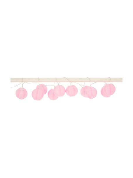 LED lichtslinger Festival, 300 cm, 10 lampions, Lampions: papier, Roze, L 300 cm