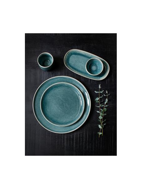 Keramische dinerborden Audrey, 2 stuks, Keramiek, Groen-blauw, Ø 28 cm