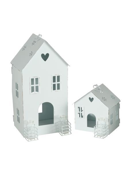 Set 2 portacandele Amelie, Portacandela: metallo rivestito, Vaso: vetro, Bianco, Set in varie misure