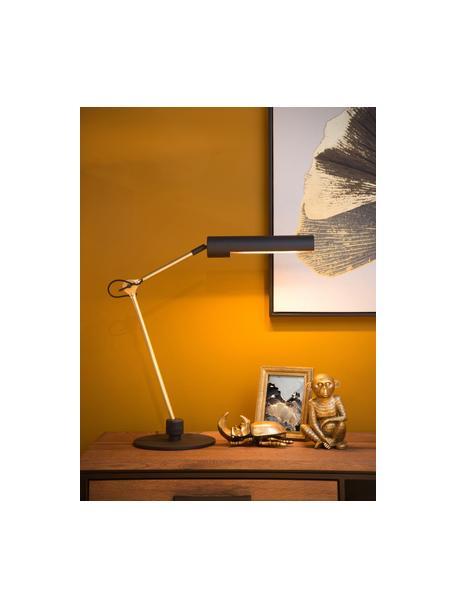 Verstellbare Schreibtischlampe Slender in Gold-Schwarz, Lampenschirm: Stahl, beschichtet, Lampenfuß: Stahl, beschichtet, Schwarz, Messingfarben, 28 x 48 cm