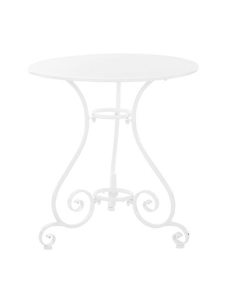 Okrągły stół ogrodowy z metalu Etienne, Stal, malowana proszkowo, odporna na czynniki atmosferyczne, Biały, Ø 70 x 72 cm