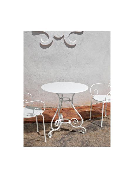 Tavolo da giardino in metallo Etienne, Acciaio, verniciato a polvere resistente agli agenti atmosferici, Bianco, Ø 70 x Alt.72 cm