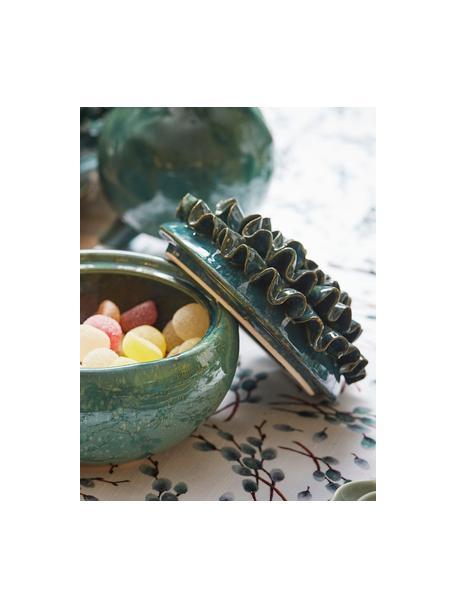 Katoenen tafelloper Genevrier met takjesmotieven, 100% katoen, Wit, grijs, bruin, 50 x 160 cm
