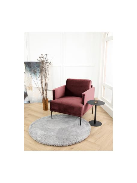 Fotel z aksamitu z metalowymi nogami Fluente, Tapicerka: aksamit (wysokiej jakości, Nogi: metal malowany proszkowo, Aksamitny rdzawy w odcieniu czerwieni, S 74 x G 85 cm