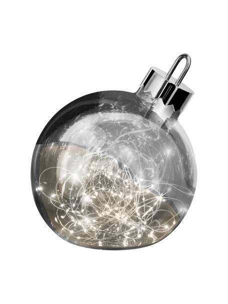 Pallina di Natale a LED a batteria in vetro Aggia, Cromo, Ø 20 x Alt. 22 cm