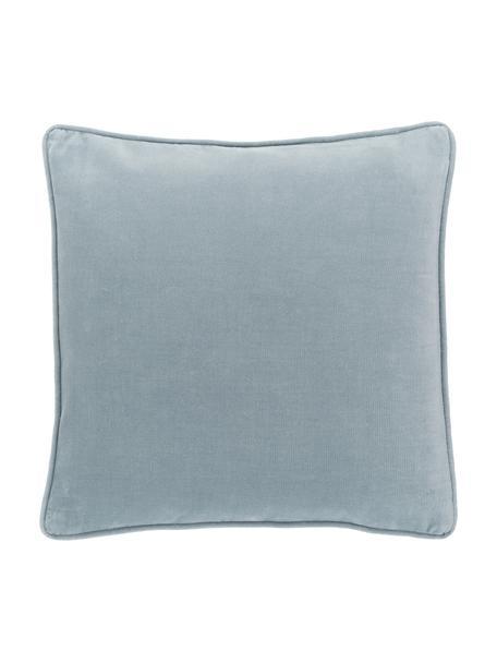 Effen fluwelen kussenhoes Dana in lichtblauw, 100% katoenfluweel, Blauw, 40 x 40 cm