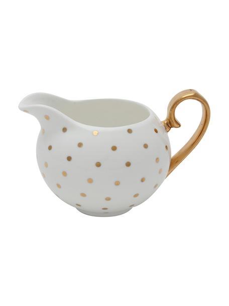 Brocca da latte con dettagli dorati Miss Golightly, 100 ml, Porcellana cinese placcata in oro, Bianco, dorato, Ø 6 x Alt. 7 cm