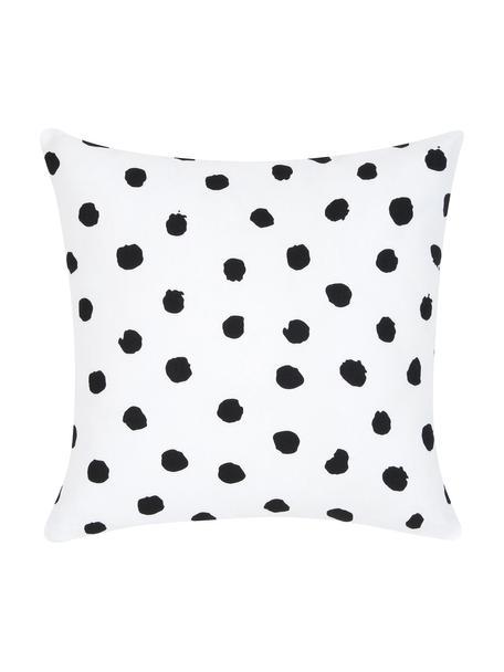 Funda de cojín Riley, 100%algodón, Negro, blanco, An 40 x L 40 cm