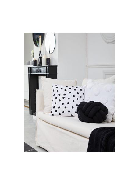Gepunktete Kissenhülle Riley in Schwarz/Weiß, 100% Baumwolle, Schwarz, Weiß, 40 x 40 cm