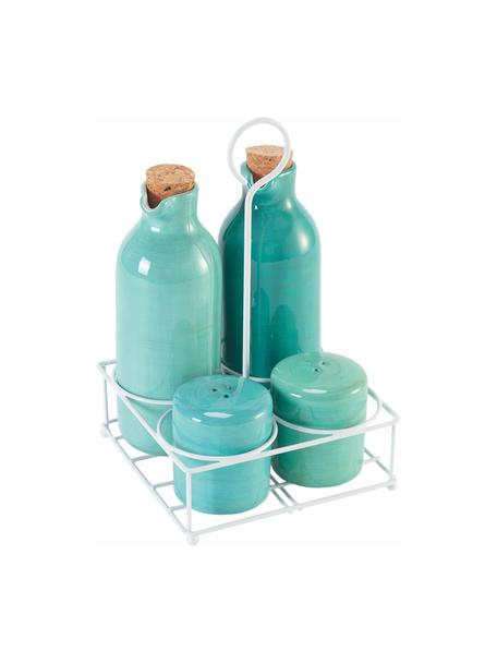 Kruidenset Baita , 5-delig, Strooier en dispenser: keramiek, Sluiting: kurkkleurig, Houder: bekleed metaal, Lichtblauw, Set met verschillende formaten
