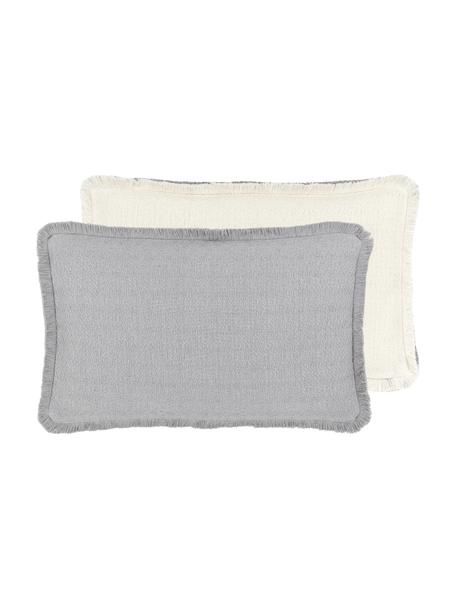 Federa arredo reversibile color grigio chiaro con frange Loran, 100% cotone, Grigio, Larg. 30 x Lung. 50 cm