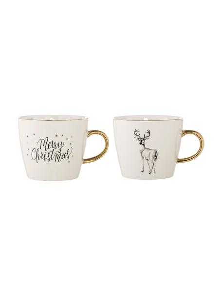 Koffiemokkenset Noel van keramiek met winters motief, 2-delig, Keramiek, Wit, zwart, goudkleurig, Ø 10 x H 8 cm