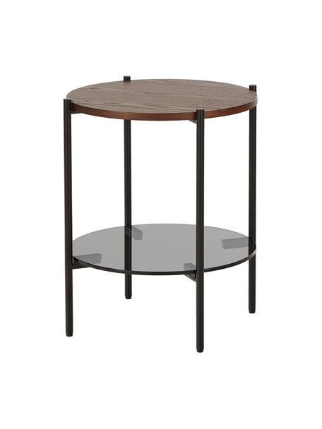Stolik pomocniczy z blatem ze szkła Valentina, Blat: szkło, Stelaż: metal malowany proszkowo, Brązowy, Ø 44 x W 50 cm